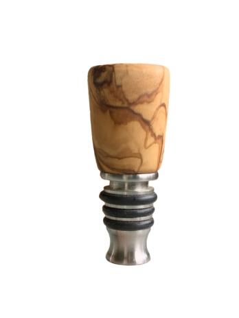Bottle stopper RVS met olijfhout